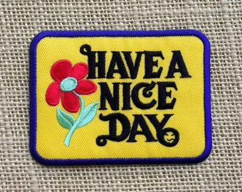 "Flower Patches. Iron On Patch for Jackets and Backpacks. Have A Nice Day Patches. Size: 3.5"" Hippie Punk Festival Tumblr Iron On Patches."
