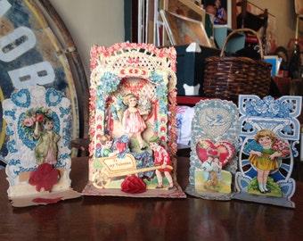 Set of 4 Vintage Pop Up Valentines Day Cards