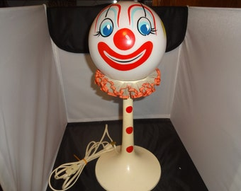 VT 1960s Mid Century Panton Tulip Style Clown Lamp W/ GLASS Clown Painted SHADE