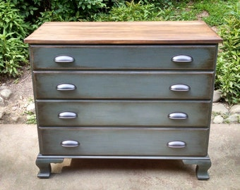 SUMMER SALE !!!!! Gray Blue Dresser / Painted Dresser / Vintage Dresser /  Buffet / Media Console / Nursery Changing Table