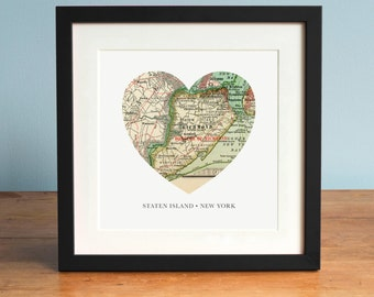 Staten island etsy map of staten island ny heart map staten island new york map vintage negle Images