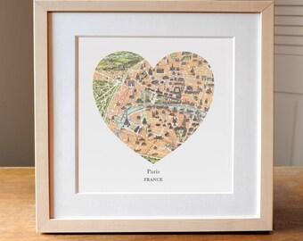Paris Map, Vintage Map of Paris, Heart Map, France Map Print, Paris Art, Paris Souvenir, Paris Gift, Francophile