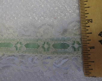 Two Toned Green & White lace beading double scallop edge  23 yards available  2 inch wide