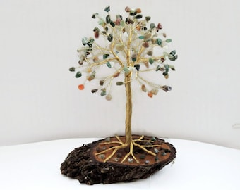 Fall wedding cake topper, Large Indian Agate Wire tree of life, One of a kind gift, Bonsai tree, Tree of Life, Gemstone Lucky tree of life