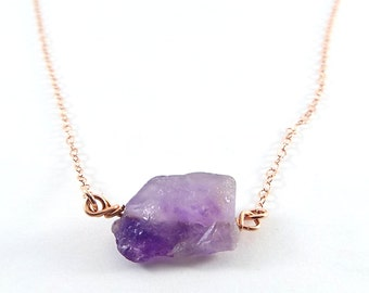 Raw Amethyst Captive Stone  Necklace (Rose Gold)