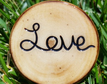 "Handmade Wood ""Love"" Pin"