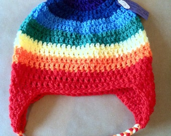 Rainbow Hat. Handmade in crochet to brighten up the dark winters!
