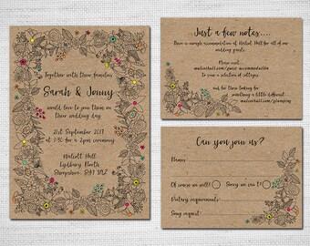 Printable Wedding Invitation - Kraft Colourful Flowers Wedding Invitation