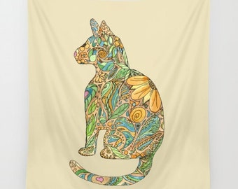 Calico Cat Throw Blanket  -  kitty, floral,   blanket throw  - gold, blue, floral- beautiful  decor,  cozy gift