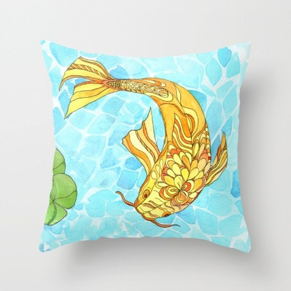 Items similar to koi fish throw pillow cute lilly pond for Koi fish pillow