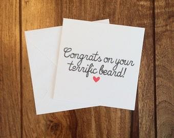 Valentine's Day Card, Anniversary card, Funny Card, Love Card, Terrific Beard Card