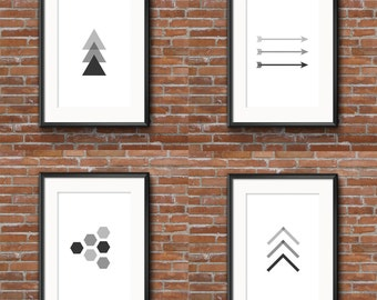 Set of Four Matted Graphic Monochromatic Prints