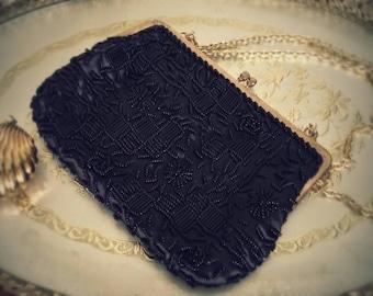 Vintage Black Beaded Evening Bag Clutch Formal Wear Purse Wedding Fashion FREE SHIPPING
