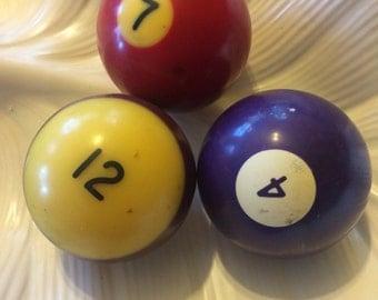 Vintage Plastic and BAKELITE Billiard Balls Set of 3 RARE Purple Bakelite