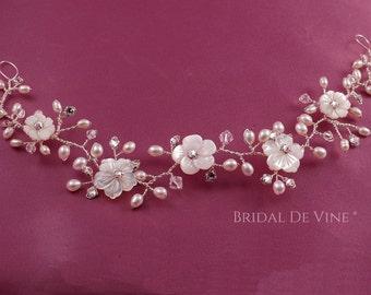 Matilda - Bridal Hair Vine with Freshwater Pearls & Crystals