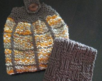 Autumn Hand Knit Dish Towel Set