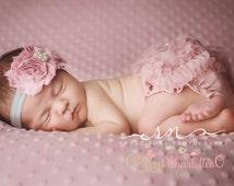 Vintage Pink And Gray Shabby Chic Headband tutu Diaper Cover, Chiffon Baby Bloomer,Baby Girl headband-Newborn Photo Prop - Baby Bloomer Set