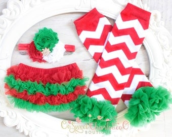 3PCS - Baby Girl Christmas Outfit- Baby Ruffle Bum Baby Bloomer Diaper Cover - Christmas Photo Prop - Baby Bloomer Set