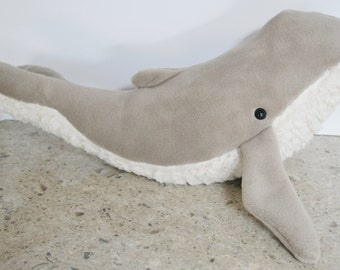 Humpback Whale Taupe Furry Belly Large Premium Fleece