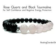 Rose Quartz and Black Tourmaline // Bridesmaids Gift // Self Confidence // Self Love // Energy Bracelet // Healing Garden Shop