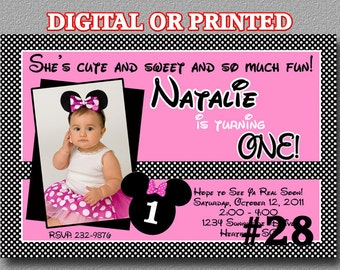 Minnie Mouse Party Invitation with Photo YOU Print Digital File or PRINTED Birthday Party invite