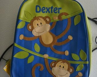 Personalised/ stephen joseph backpack/children and toddler backpack/rucksack/nursery bag/nappy bag/holiday bag/Monkey/ +FREE Keyring