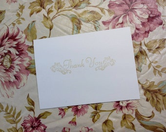 Set of 50 Thank You Cards with Gold Ink