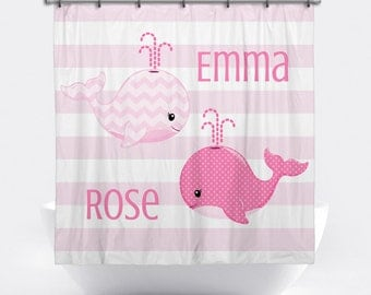 Whale Personalized Shower Curtain For Girls   Pink Whale Shower Curtain    Custom Whale Bath Decor