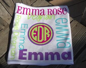 Personalized Baby Blanket - Monogrammed Receiving Blanket for Girls - Custom Name Baby Blanket - Newborn Swaddling Blanket - Baby Photo Prop