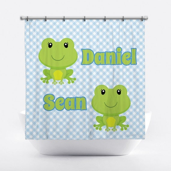 Frog Personalized Shower Curtain For Boys Frog Shower