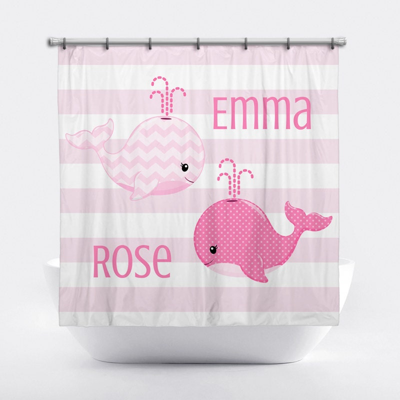 Whale Personalized Shower Curtain for Girls Pink Whale