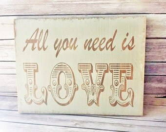 """Wood Sign All You Need Is LOVE Wall Decor 12"""" x 16"""" READY to SHIP"""