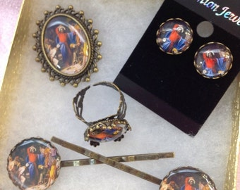 Carl Bloch Inspired Religious Jewelry Broach Ring Earrings Hair Pins