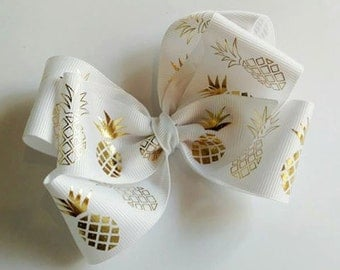 White with gold foil pineapple big large boutique hair bow on lined alligator clip HANDMADE