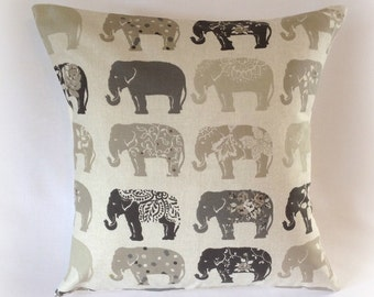 "Handmade Grey &  Natural Elephant Cushion Cover 16""  Cotton Pillow"