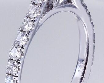 18K White Gold Round Cut Diamond Engagement Ring Prong Set 1.50ctw