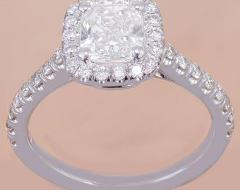 18k White Gold Cushion Cut Diamond Engagement Ring Halo 1.60ctw I-SI1 GIA