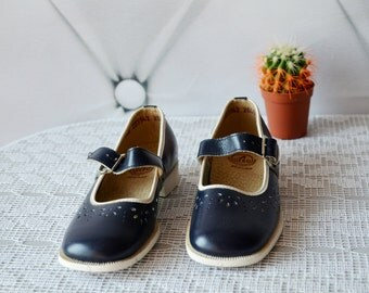 Vintage Mary Janes Shoes,Navy Blue, Baby Shoes, 11.5 US,28 EU, girls sandals, baby shoes, Leather children boots, Leather Baby sandals