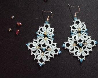 """Tatted earrings """"Blue Ocean"""" - Pattern"""