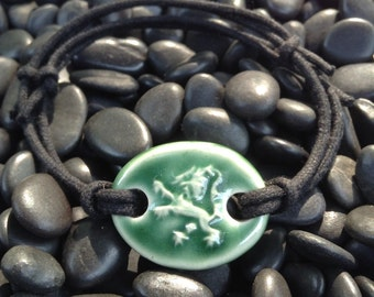 Scottish Rampant Lion Bracelet for Men and Women in Deep Green Glaze