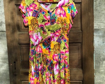 Vintage 80's Abstract Lily Print Romper by Clio Size Medium