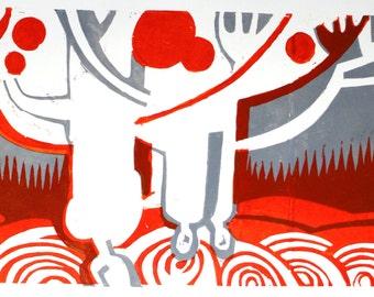 linocut Moira 26х42 cm
