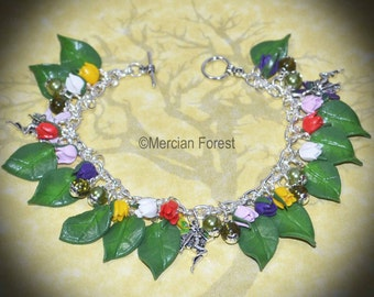 Tulip Flower Fairy Bracelet - Handmade Clay Jewellery, Inspired by the Fae or Sidhe, Pagan, Wicca, Witch