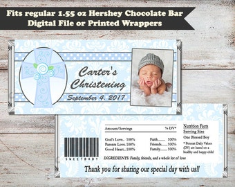 Blue Damask Christening Candy Wrapper, Baptism Candy Bar Wrapper, Blue Baptism Wrapper, Baptism Favors, Digital or Printed Candy Wrappers