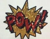 Pow design Sequins patch applique T-shirt  Jeans decoration applique