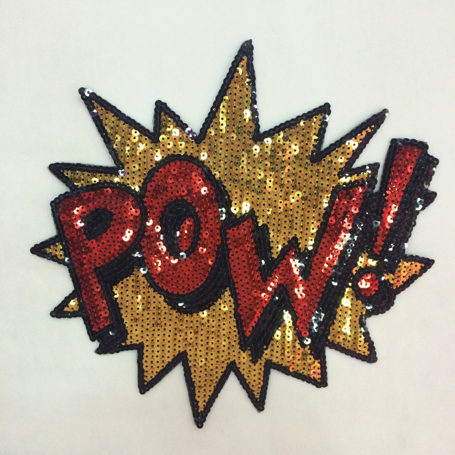 Pow design sequins patch applique t shirt jeans decoration for Applique decoration