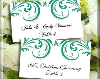 Editable Place Card Template Emerald Green Swirls Flat or Tented