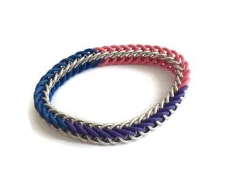 Bisexual Pride Bracelet - Bi Pride Flag Colour Stretchy Bracelet