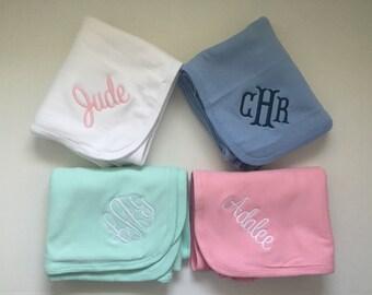 Monogrammed Cotton Receiving Blanket