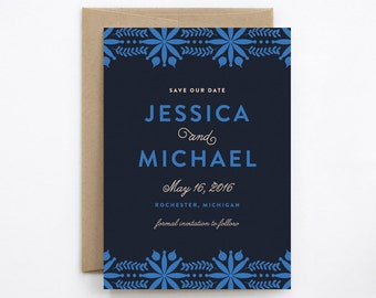 Wedding Save the Date - Bohemian Flowers Royal Blue - Card & Envelope